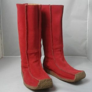 John Fluvog Red Suede Boots Womens 7.5 Winter Fall